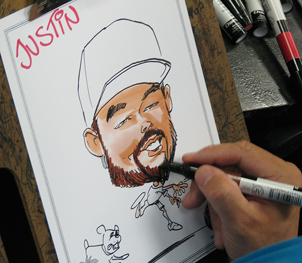 caricature artists at high school party