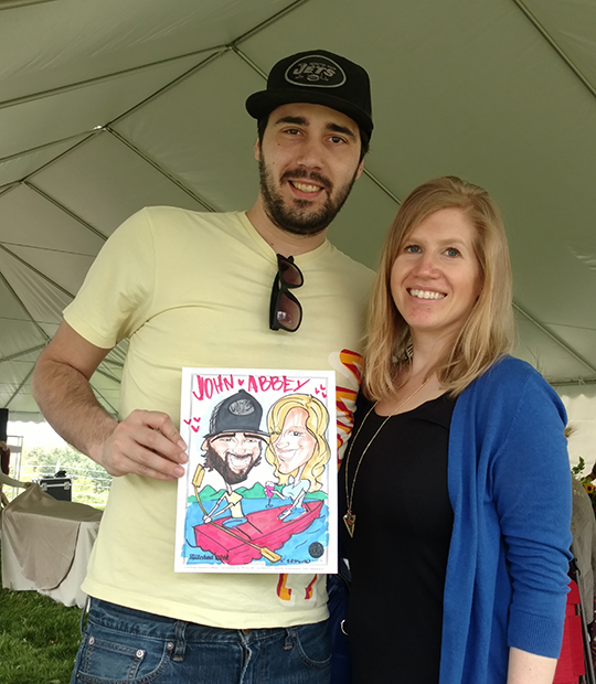 Engaged couples with caricature