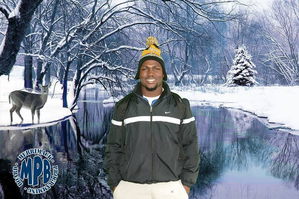 Green screen photo with winter background