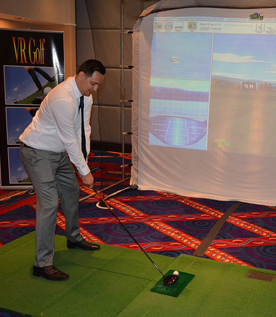 Virtual driving range at corporate event